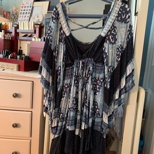 Free People Blue/White Print Dress